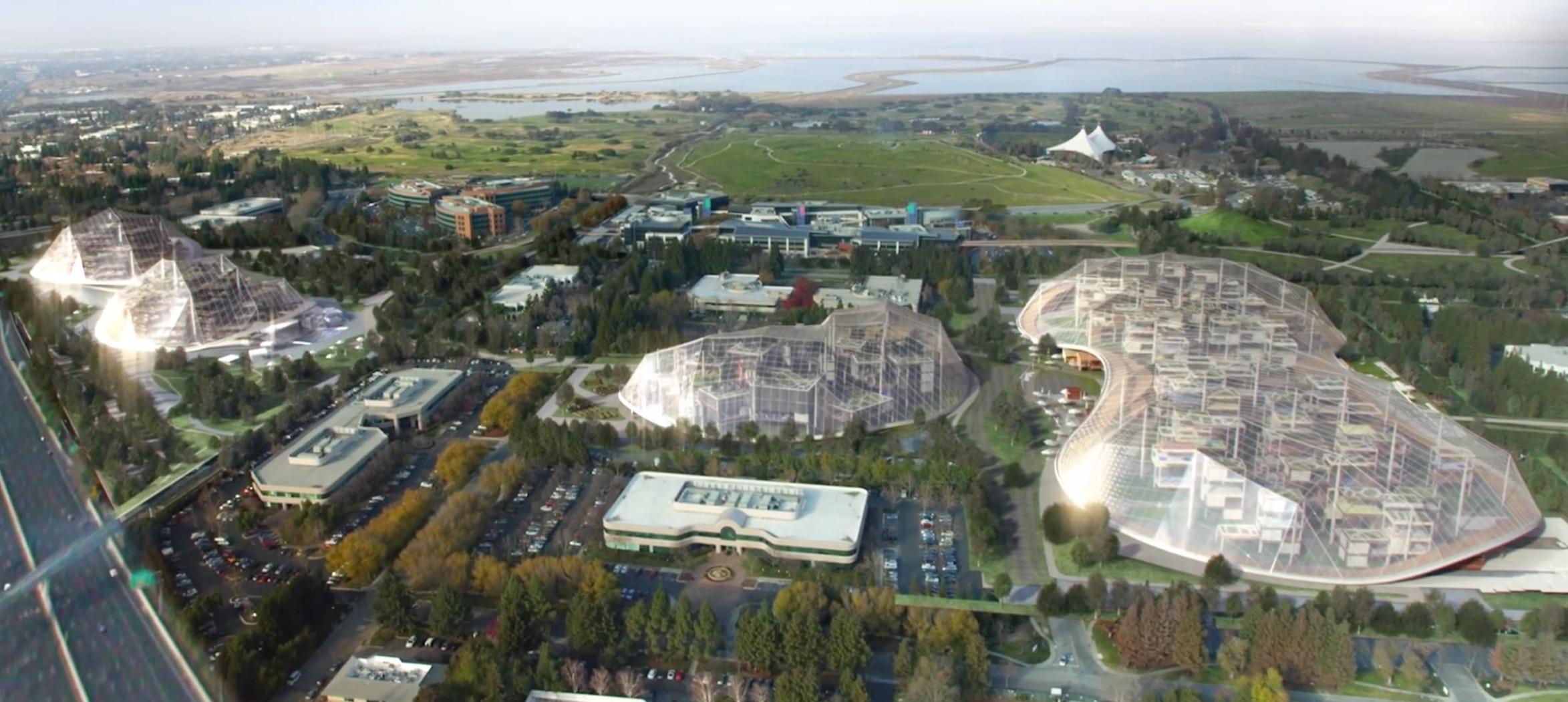Gigantesques auvents, structures modulaires, pistes cyclables et jardins    Google dévoile les futurs réaménagements de son siège de Mountain View. Le  géant ... 174259902045