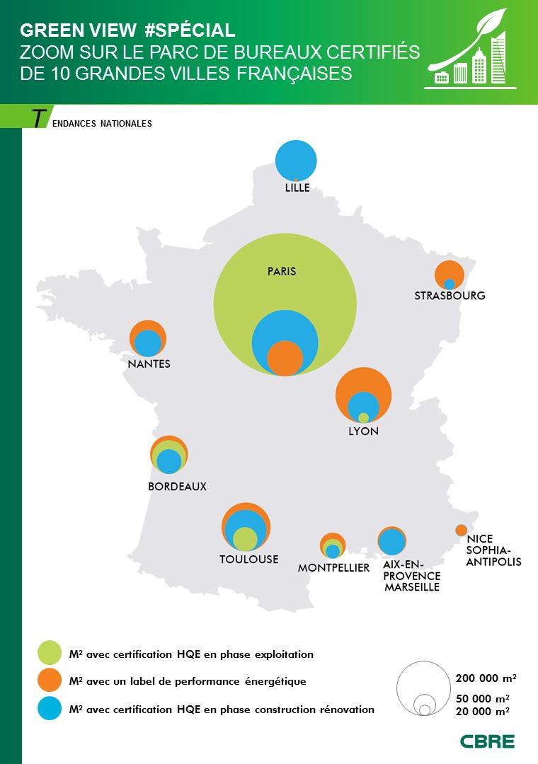 Green View #special – Zoom sur le parc de bureaux certifiés HQE de 10 grandes villes françaises
