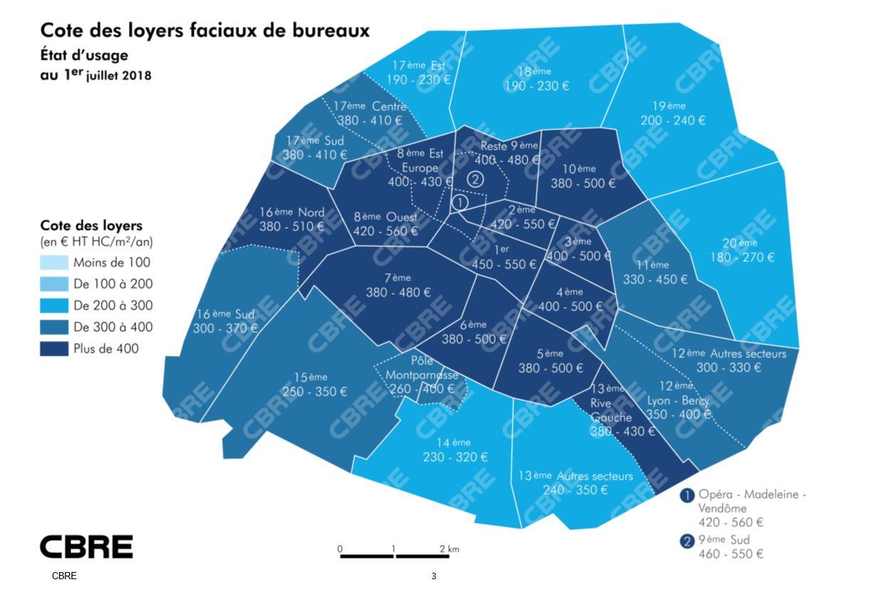Bureaux à Paris au 1er semestre : un m², combien d'euros ?