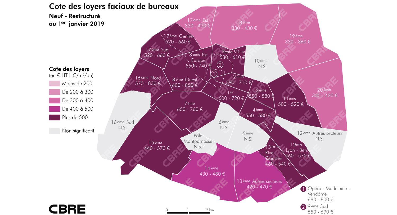 Bureaux à paris un m² combien d euros chiffres dernier