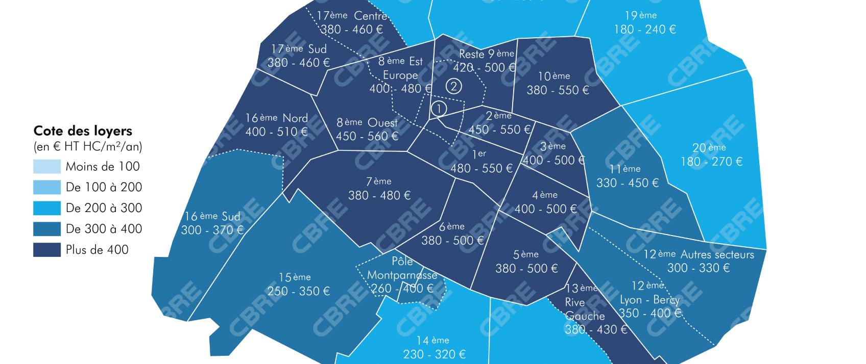 Bureaux Île-de-France : un m², combien d'euros ?