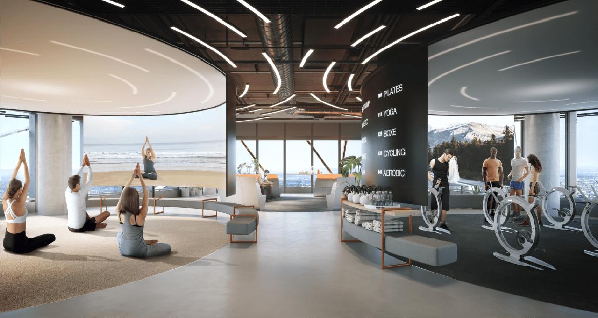Proposition d'aménagement du Fitness/ Wellness center d'environ 500m² au R+27 par le Studio Ramy Fischler