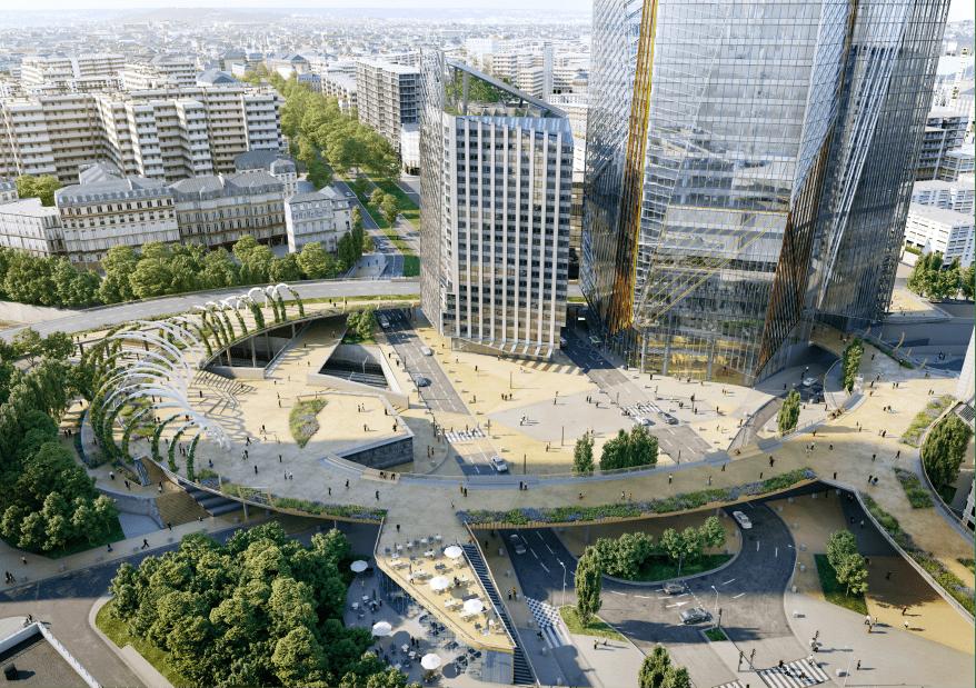 La future place centrale urbaine et son jardin suspendu