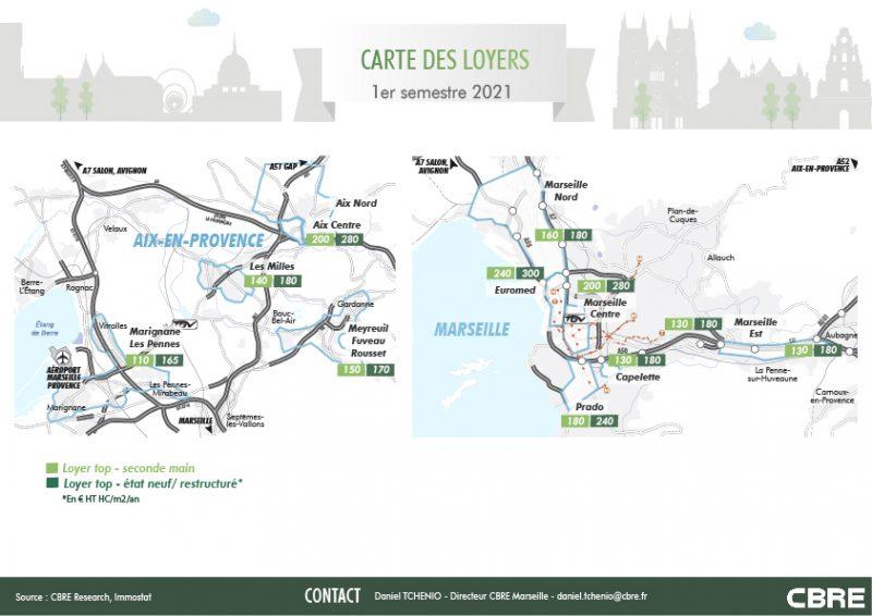 Carte des loyers sur le marché de l'immobilier bureaux Aix Marseille, immobilier bureaux à Aix Marseille en infographie